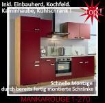 Einbauküche MANKAROUGE 1 Rubinrot Küche Küchenzeile 270cm Küchenblock m.E-Geräte