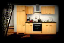 Einbauküche MANKAALPHA 1 Buche Küche Küchenzeile 270cm Küchenblock mit E-Geräten