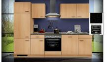 Einbauküche MANKAGAMMA 2 Buche Küche Küchenzeile 280cm Küchenblock mit E-Geräte