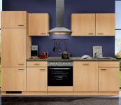 Küchenzeile MANKAPORTABLE 12 Küche 280cm Küchenblock in Buche m. allen E-Geräten