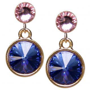 Kristall-Ohrringe mit SWAROVSKI ELEMENTS. Saphirblau-Rosa