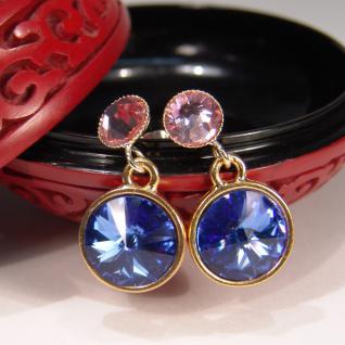 Kristall-Ohrringe mit SWAROVSKI ELEMENTS. Saphirblau-Rosa - Vorschau 3