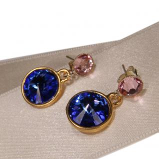Kristall-Ohrringe mit SWAROVSKI ELEMENTS. Saphirblau-Rosa - Vorschau 2