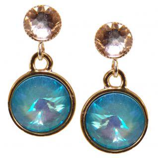 Kristall-Ohrringe mit SWAROVSKI ELEMENTS. Hellblau-Peach