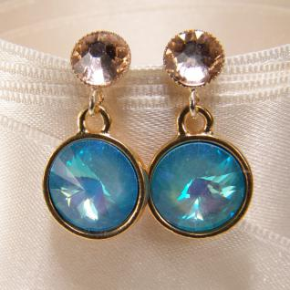 Kristall-Ohrringe mit SWAROVSKI ELEMENTS. Hellblau-Peach - Vorschau 2