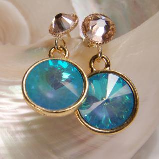 Kristall-Ohrringe mit SWAROVSKI ELEMENTS. Hellblau-Peach - Vorschau 3