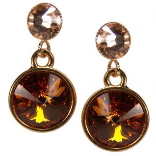Kristall-Ohrringe mit SWAROVSKI ELEMENTS. Cognac-Peach
