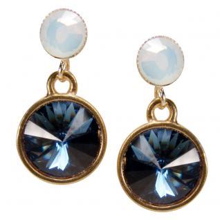 Kristall-Ohrringe mit SWAROVSKI ELEMENTS. Blau-Weiß