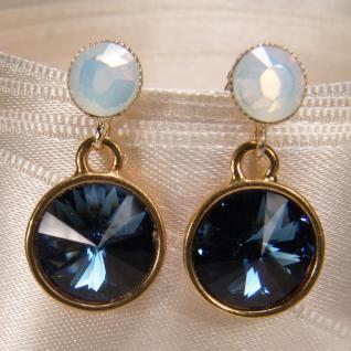 Kristall-ohrringe Mit Swarovski Elements. Blau-weiß - Vorschau 2