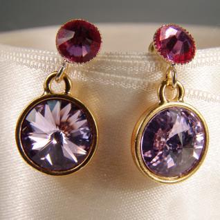 Kristall-Ohrringe mit SWAROVSKI ELEMENTS. Violett-Fuchsia - Vorschau 2