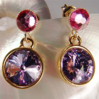 Kristall-Ohrringe mit SWAROVSKI ELEMENTS. Violett-Fuchsia - Vorschau 3