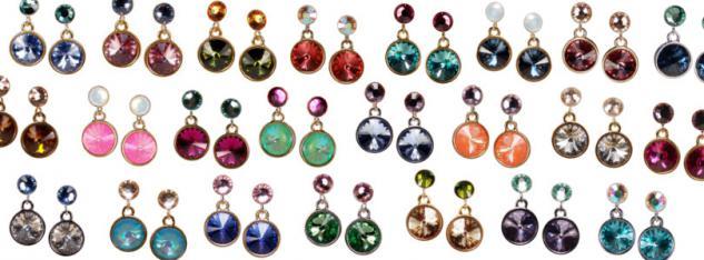 Kristall-Ohrringe mit SWAROVSKI ELEMENTS. Violett-Fuchsia - Vorschau 5