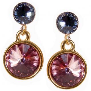 Kristall-Ohrringe mit SWAROVSKI ELEMENTS. Rosa-Blau