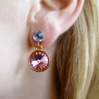 Kristall-ohrringe Mit Swarovski Elements. Rosa-blau - Vorschau 4