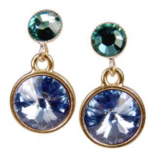 Kristall-Ohrringe mit SWAROVSKI ELEMENTS. Blau-Grün