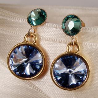 Kristall-Ohrringe mit SWAROVSKI ELEMENTS. Blau-Grün - Vorschau 2