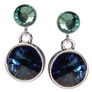 Silberne Kristall-Ohrringe mit SWAROVSKI ELEMENTS. Dunkelblau-Grün