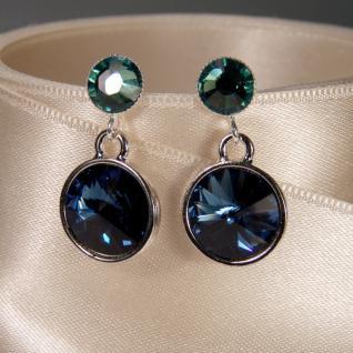 Silberne Kristall-Ohrringe mit SWAROVSKI ELEMENTS. Dunkelblau-Grün - Vorschau 3