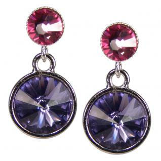 Silberne Kristall-Ohrringe mit SWAROVSKI ELEMENTS. Tansanit-Rosa