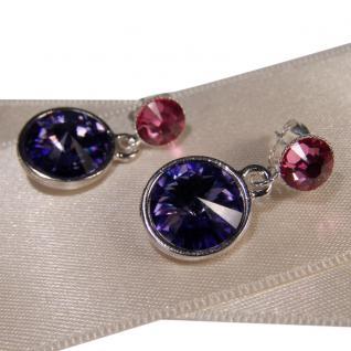 Silberne Kristall-Ohrringe mit SWAROVSKI ELEMENTS. Tansanit-Rosa - Vorschau 2