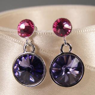 Silberne Kristall-Ohrringe mit SWAROVSKI ELEMENTS. Tansanit-Rosa - Vorschau 3