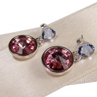 Silberne Kristall-Ohrringe mit SWAROVSKI ELEMENTS. Rosa-Blau - Vorschau 2