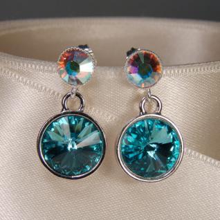 Silberne Kristall-Ohrringe mit SWAROVSKI ELEMENTS. Aquamarin-Opalschimmer - Vorschau 3