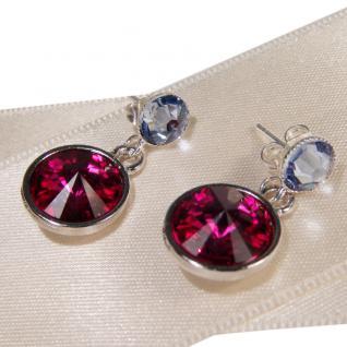 Silberne Kristall-Ohrringe mit SWAROVSKI ELEMENTS. Fuchsia-Blau - Vorschau 2