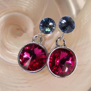 Silberne Kristall-Ohrringe mit SWAROVSKI ELEMENTS. Fuchsia-Blau - Vorschau 3