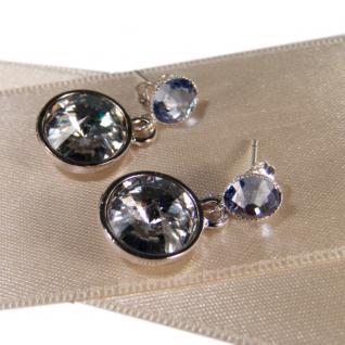 Silberne Kristall-Ohrringe mit SWAROVSKI ELEMENTS. Kristall-Blau - Vorschau 2