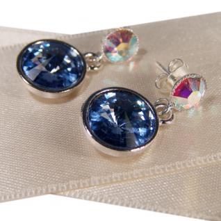 Silberne Kristall-Ohrringe mit SWAROVSKI ELEMENTS. Blau-Opalschimmer - Vorschau 2