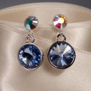 Silberne Kristall-Ohrringe mit SWAROVSKI ELEMENTS. Blau-Opalschimmer - Vorschau 3