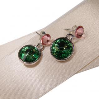 Silberne Kristall-ohrringe Mit Swarovski Elements. Grün-rosa - Vorschau 2