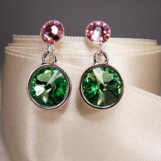 Silberne Kristall-ohrringe Mit Swarovski Elements. Grün-rosa - Vorschau 3