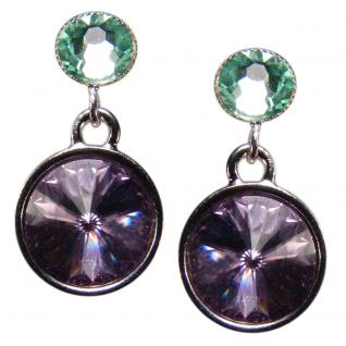 Silberne Kristall-Ohrringe mit SWAROVSKI ELEMENTS. Violett-Grün - Vorschau 1