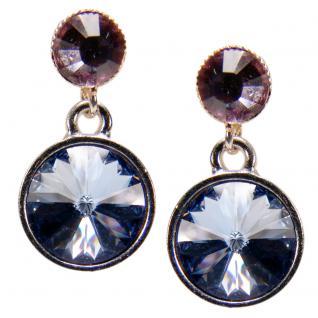 Silberne Kristall-Ohrringe mit SWAROVSKI ELEMENTS. Blau-Violett - Vorschau 1