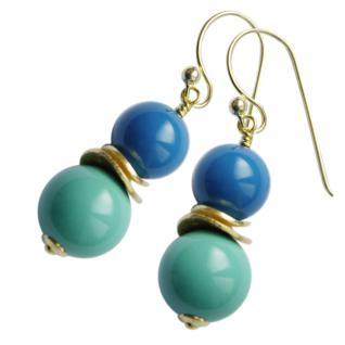 Colour Blocking Ohrring mit SWAROVSKI Crystal Pearls und Silber verg. Türkis-Blau