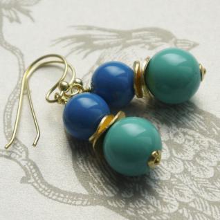 Colour Blocking Ohrring mit SWAROVSKI Crystal Pearls und Silber verg. Türkis-Blau - Vorschau 2