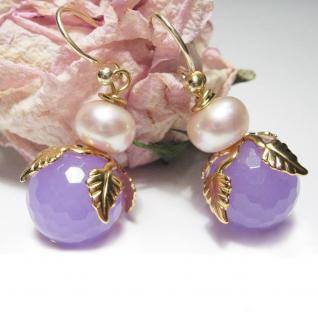 Ohrring Jadeblüte mit Perle - Vorschau 2
