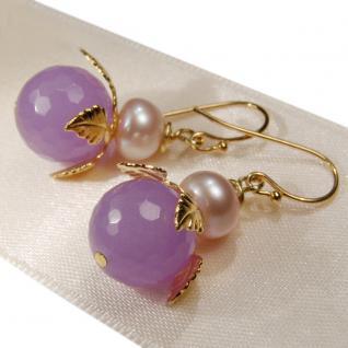Ohrring Jadeblüte mit Perle - Vorschau 4