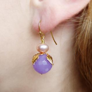 Ohrring Jadeblüte mit Perle - Vorschau 3