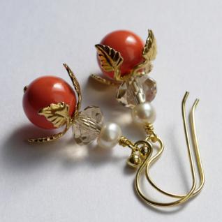 Ohrring mit SWAROVSKI Crystal Pearls Blüte korallenrot - Vorschau 2