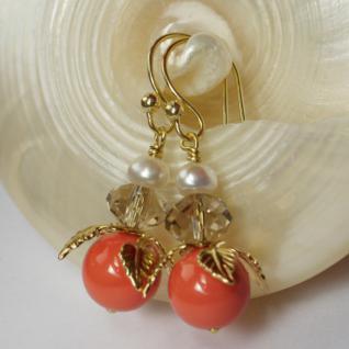 Ohrring mit SWAROVSKI Crystal Pearls Blüte korallenrot - Vorschau 3