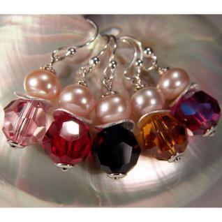Ohrring mit SWAROVSKI Elements, Süßwasserperle und Silber. Rosa - Vorschau 4