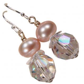 Ohrring mit SWAROVSKI Elements, Süßwasserperle und Silber. Kristallklar