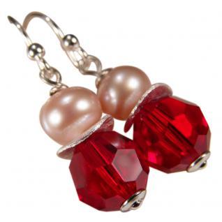 Ohrring mit SWAROVSKI Elements, Süßwasserperle und Silber. Rot
