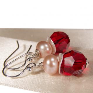 Ohrring mit SWAROVSKI Elements, Süßwasserperle und Silber. Rot - Vorschau 2