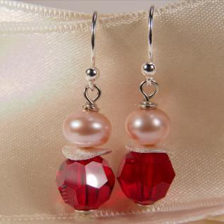 Ohrring mit SWAROVSKI Elements, Süßwasserperle und Silber. Rot - Vorschau 3