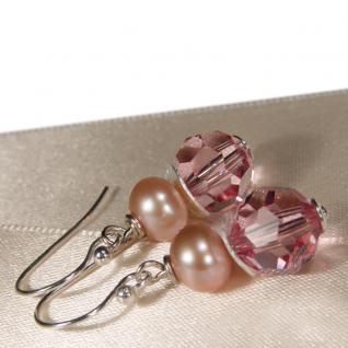 Ohrring mit SWAROVSKI Elements, Süßwasserperle und Silber. Rosa - Vorschau 2