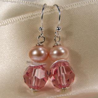 Ohrring mit SWAROVSKI Elements, Süßwasserperle und Silber. Rosa - Vorschau 3